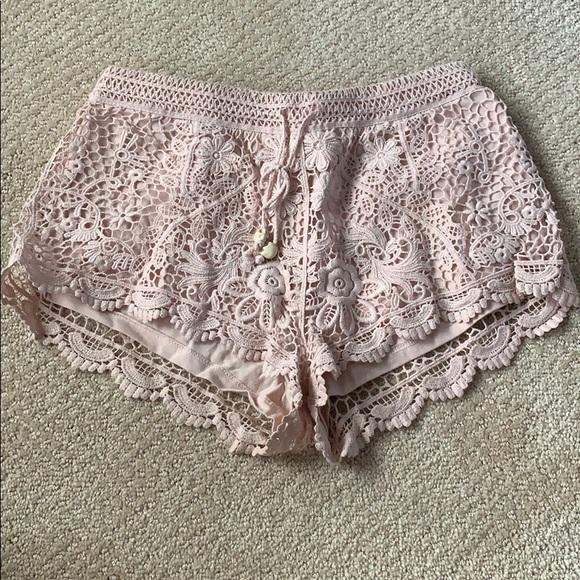 H&M Pants - H&M baby pink lace shorts